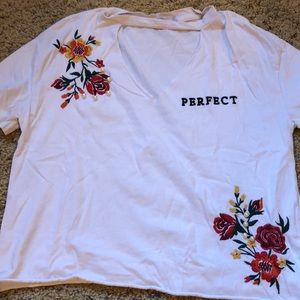 Embroidered floral white T-shirt